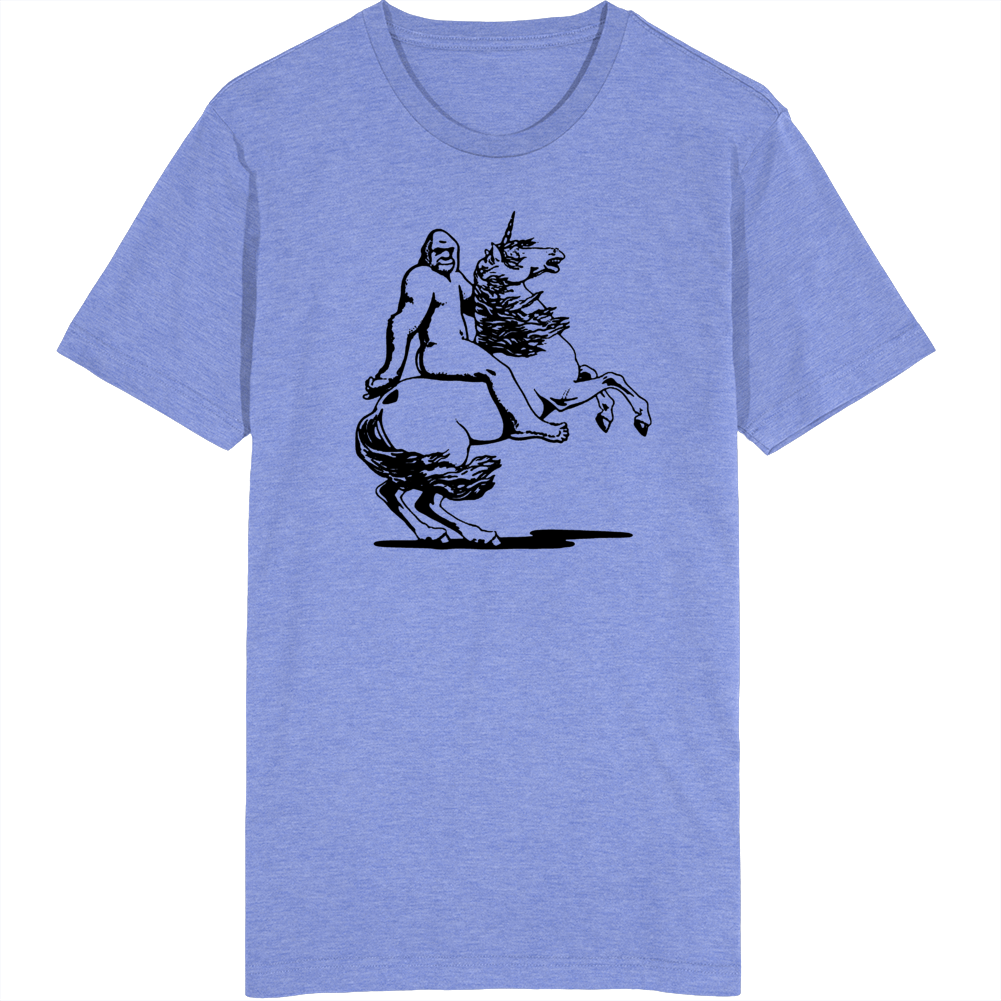 Bigfoot Riding a Unicorn  T Shirt