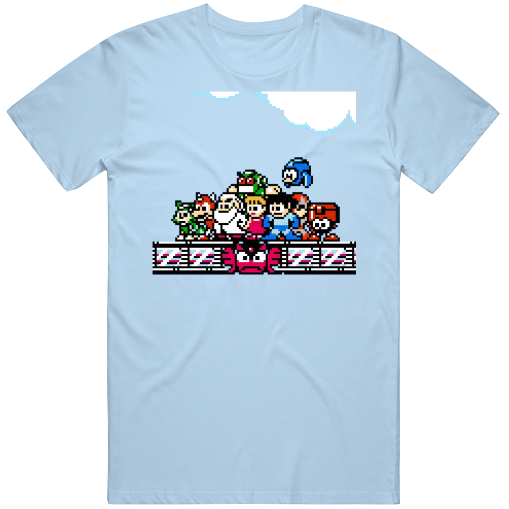 Classic Video Game 8 Bit Mega Man Group Shot Fan T Shirt