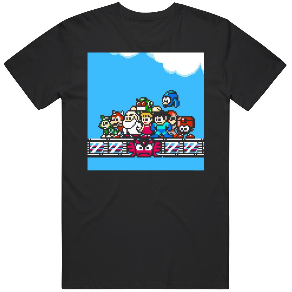 Classic Video Game 8 Bit Mega Man Group Shot Fan v2 T Shirt