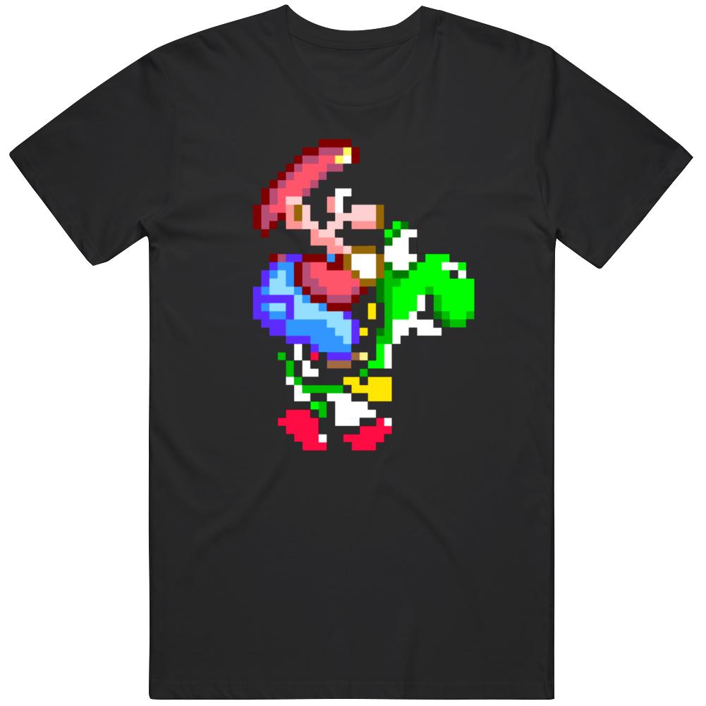 Classic Video Game Super Mario World Mario and Yoshii Fan  T Shirt