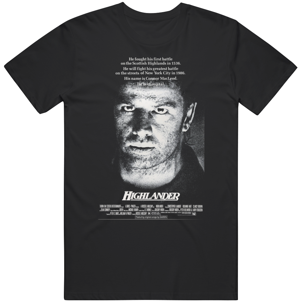 Highlander 1986 Cult Classic Horror Movie  Fan   T Shirt