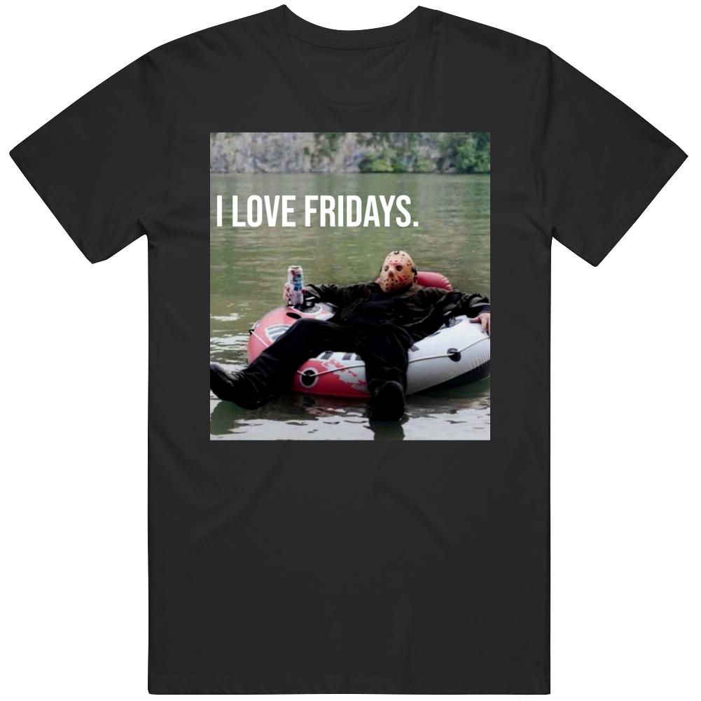 Jason Vorhees Funny I Love Fridays Friday the 13th Horror Movie Halloween Fan T Shirt