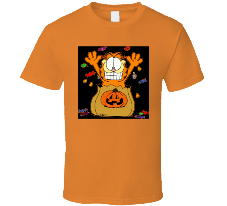 Retro Garfield Cartoon Halloween Treats Tshirt