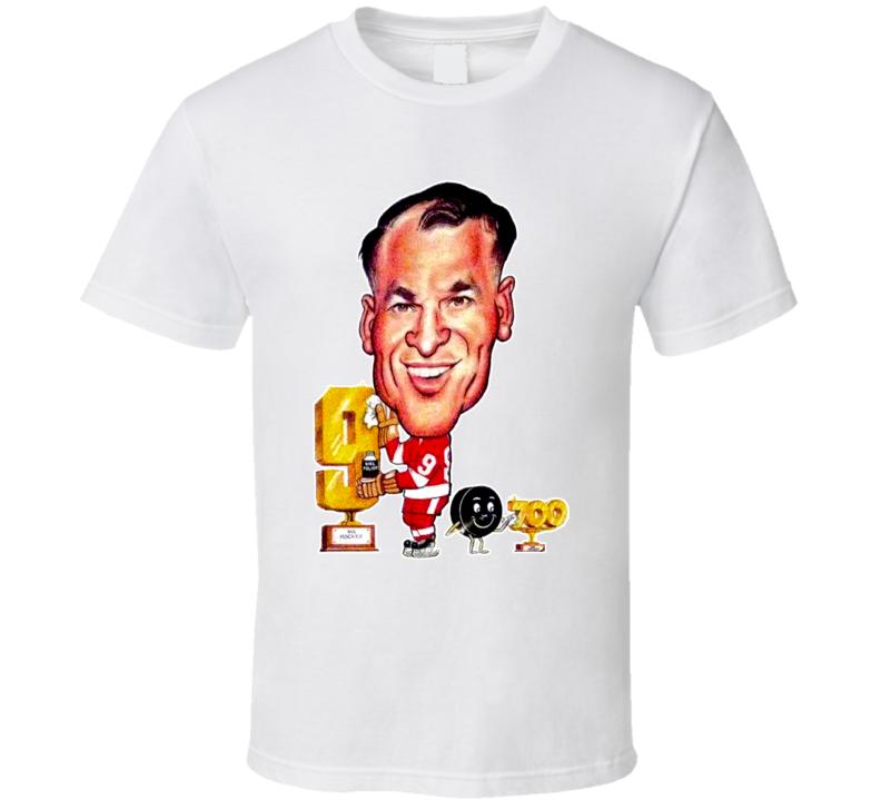 Gordie Howe Detroit Hockey Legend Vintage Retro Caricature T Shirt