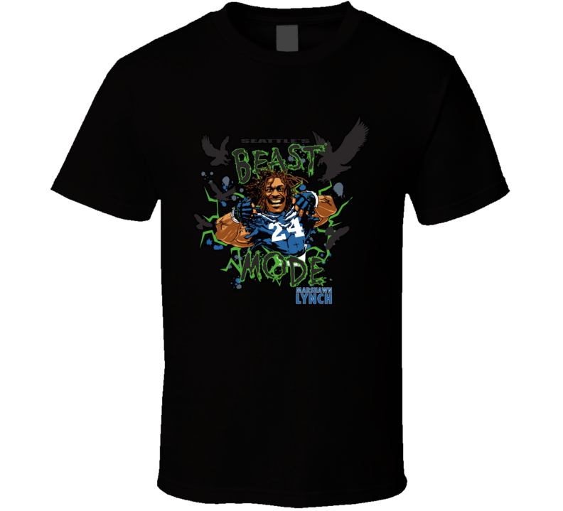 Marshawn Lynch Beast Mode Football Running Back Seattle Cartoon T Shirt