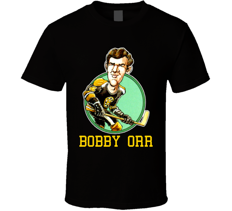 Bobby Orr Boston Hockey Retro Caricature T Shirt