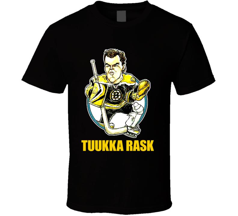 Tuukka Rask Boston Hockey Goalie Retro Style Cartoon T Shirt