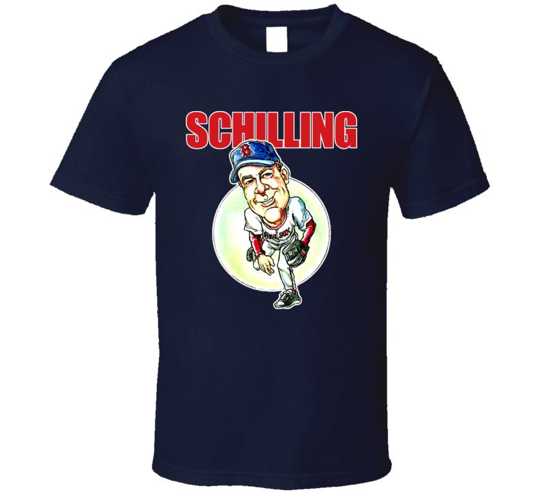 Curt Schilling Caricature Cartoon Retro Baseball T Shirt