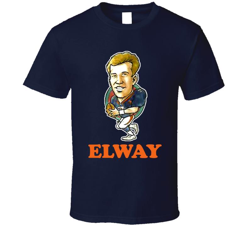 John Elway Denver Football QB Retro Caricature T Shirt