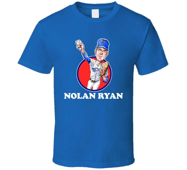 Nolan Ryan Texas Baseball Retro Caricature T Shirt