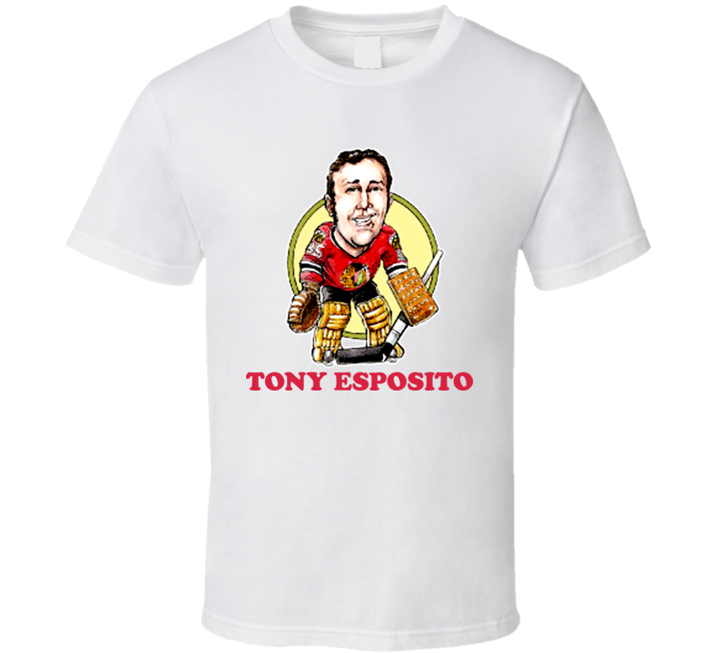 Tony Esposito Chicaho Hockey Legend Retro Caricature T Shirt