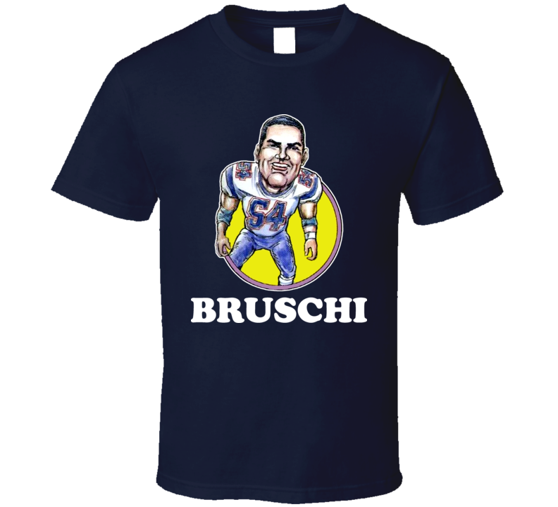 Teddy Bruschi New England Football Linebacker Retro Legend Caricature T Shirt