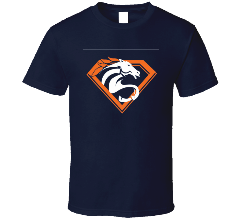 Denver Superman Bronco Logo Hybrid Manning MVP Superbowl Football T Shirt