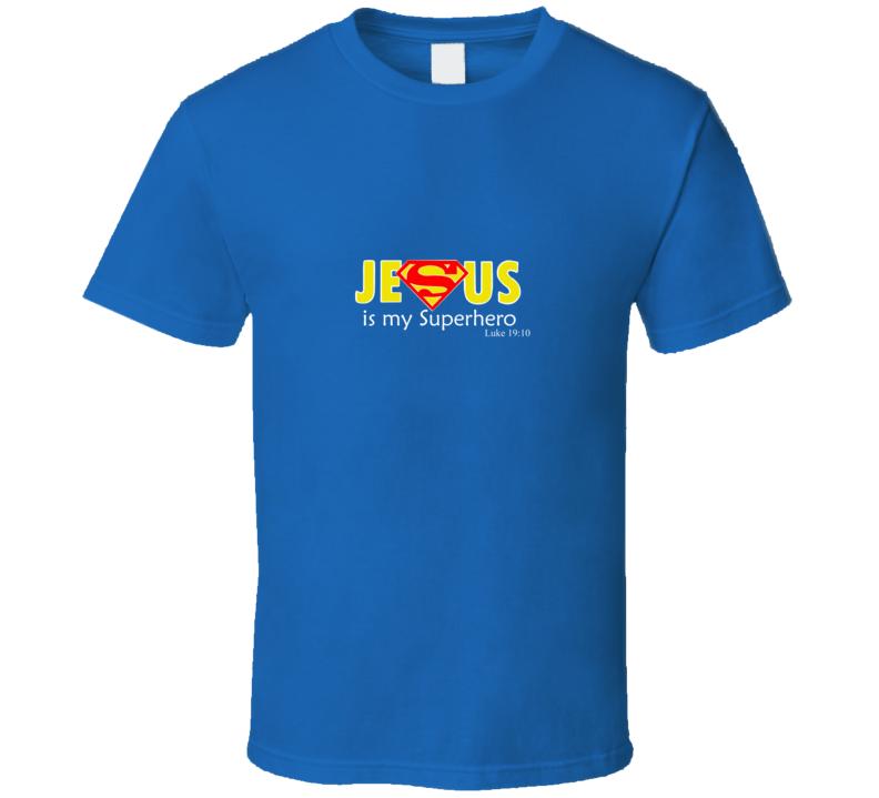 Jesus Is My Superhero Comic Cool Superman Logo Royal Blue T Shirt