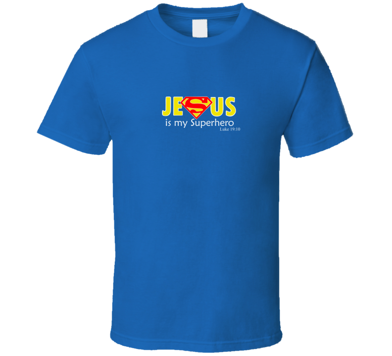 Jesus Is My Superhero Dc Comic Funny Super Royal Man Blue T Shirt