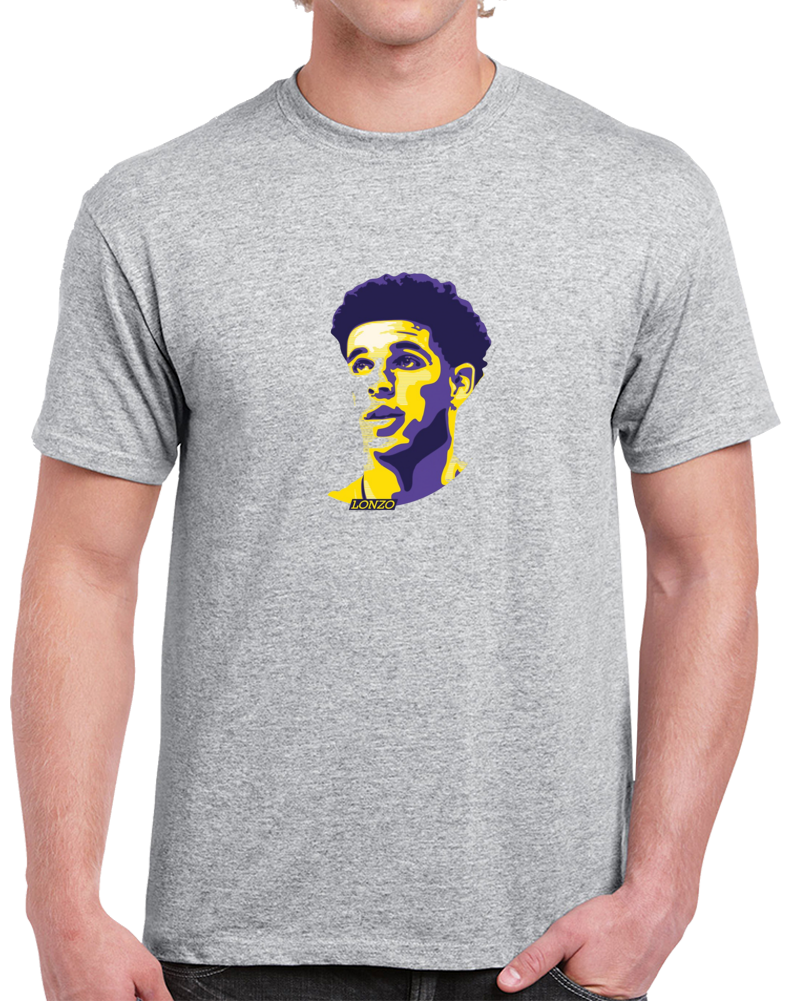 Lonzo Ball Los Angeles Big Head Sports Gray Sihouette Basketball T Shirt
