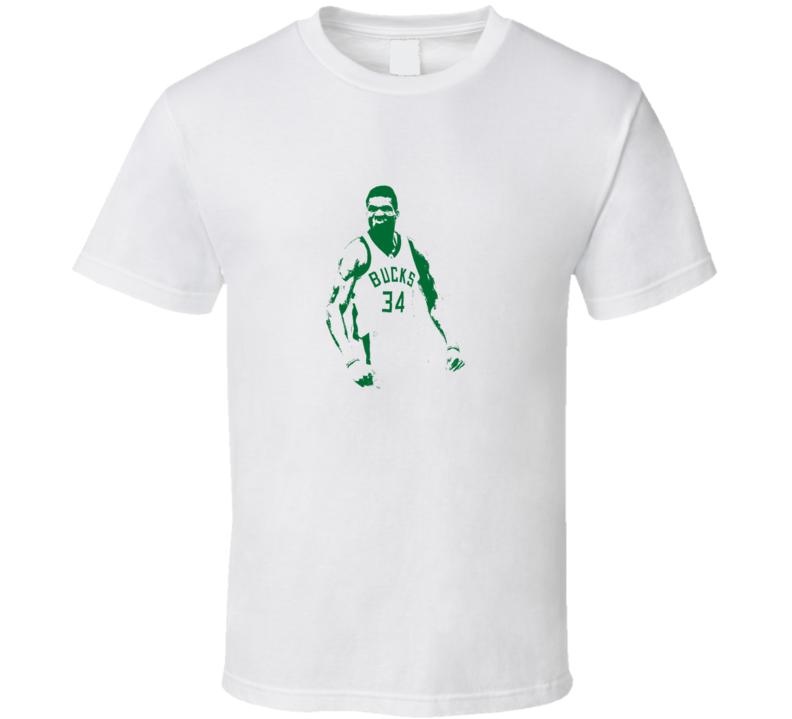 Greek Freak Milwaukee Giannis Antentokoumpo Sihouette Basketball T Shirt