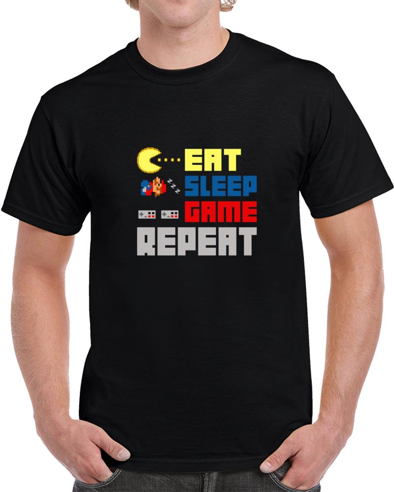 Nintendo Eat Sleep Game Repeat Video Game Gaming Gamer T Shirt