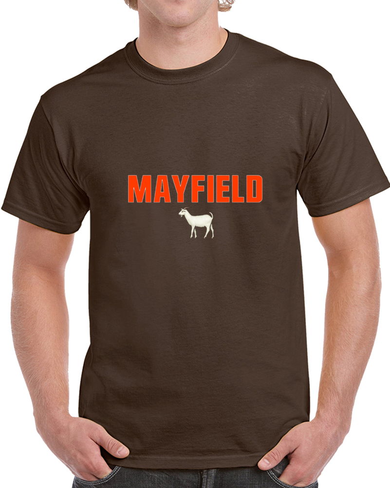 Baker Mayfield Goat Cleveland 1st Overall Draft Pick Qb Heismann Brown Football T Shirt