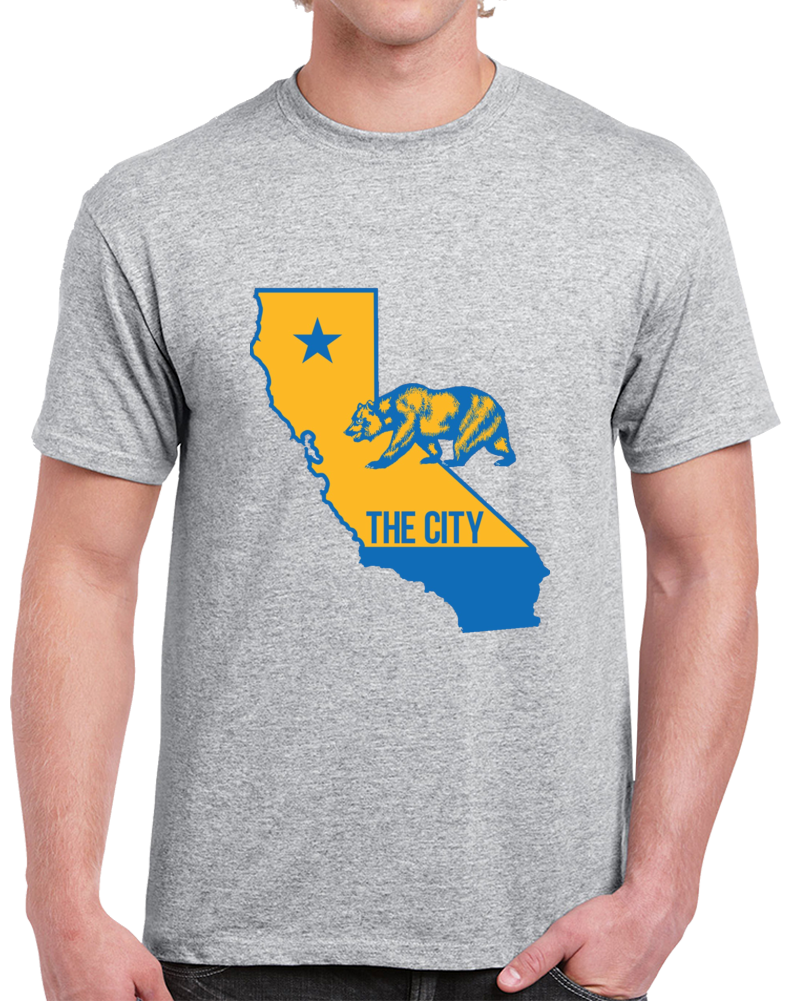 Golden State The City California State Basketball Gray T Shirt