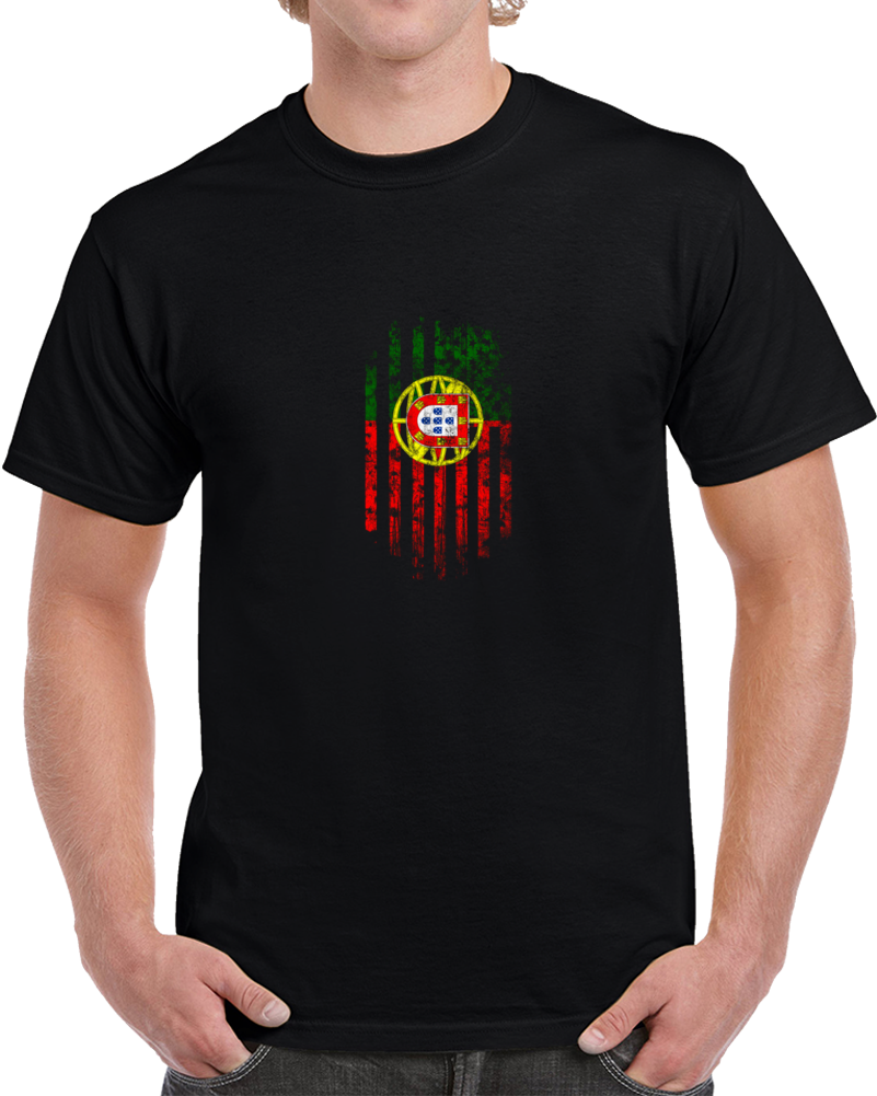 Portugal Flag Distressed Soccer World Cup Fan Supporter Black T Shirt