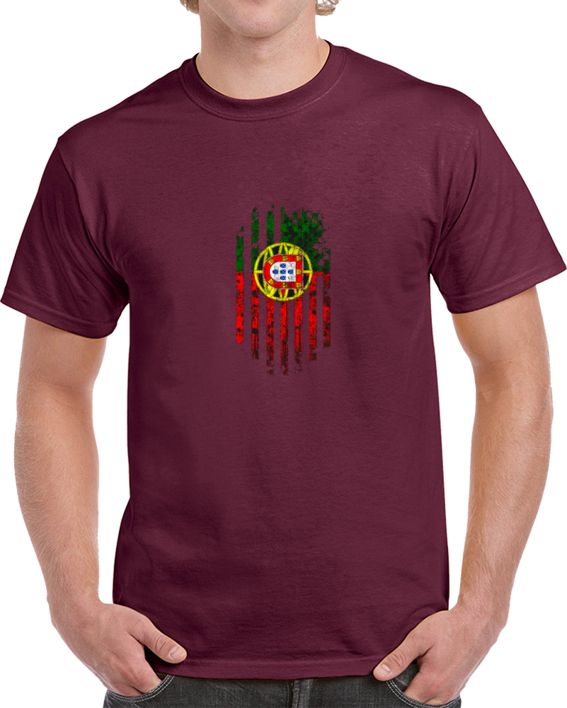 Portugal Flag Distressed Soccer World Cup Fan Supporter Burgundy T Shirt