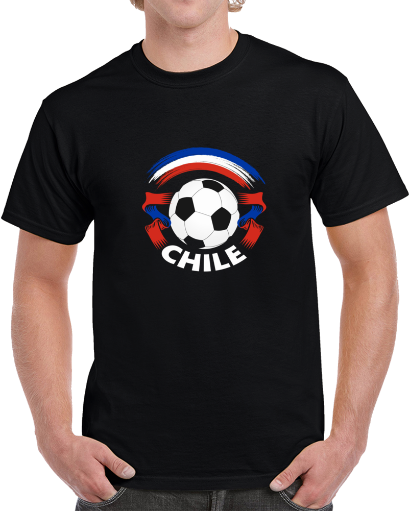 Chile Retro Soccer Ball Ribbons World Cup Fan Supporter T Shirt