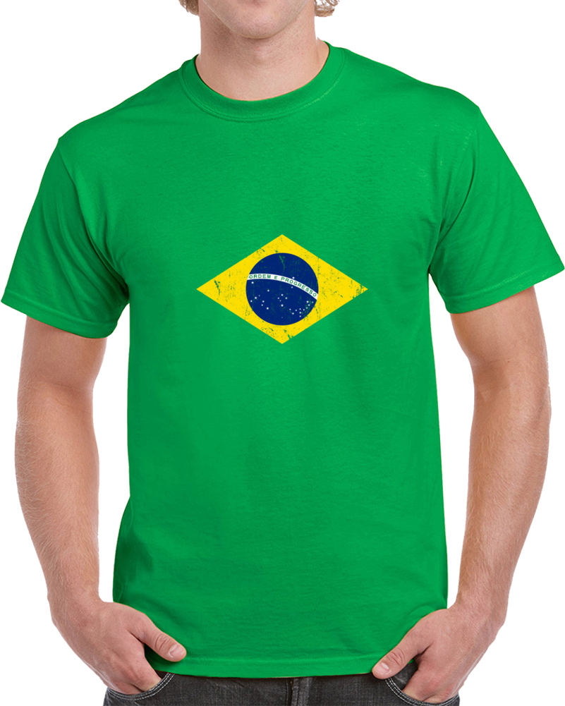 Brazil Distressed Flag World Cup Soccer Team Fan Supporter T Shirt
