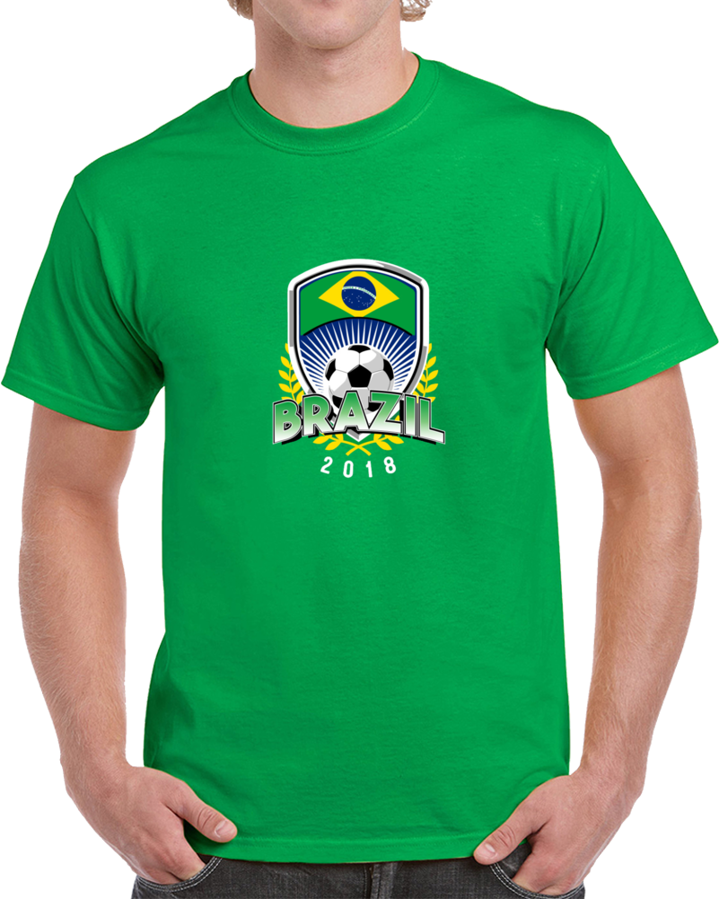 Brazil World Cup 2018 Russia Soccer Logo Fan Supporter Green T Shirt