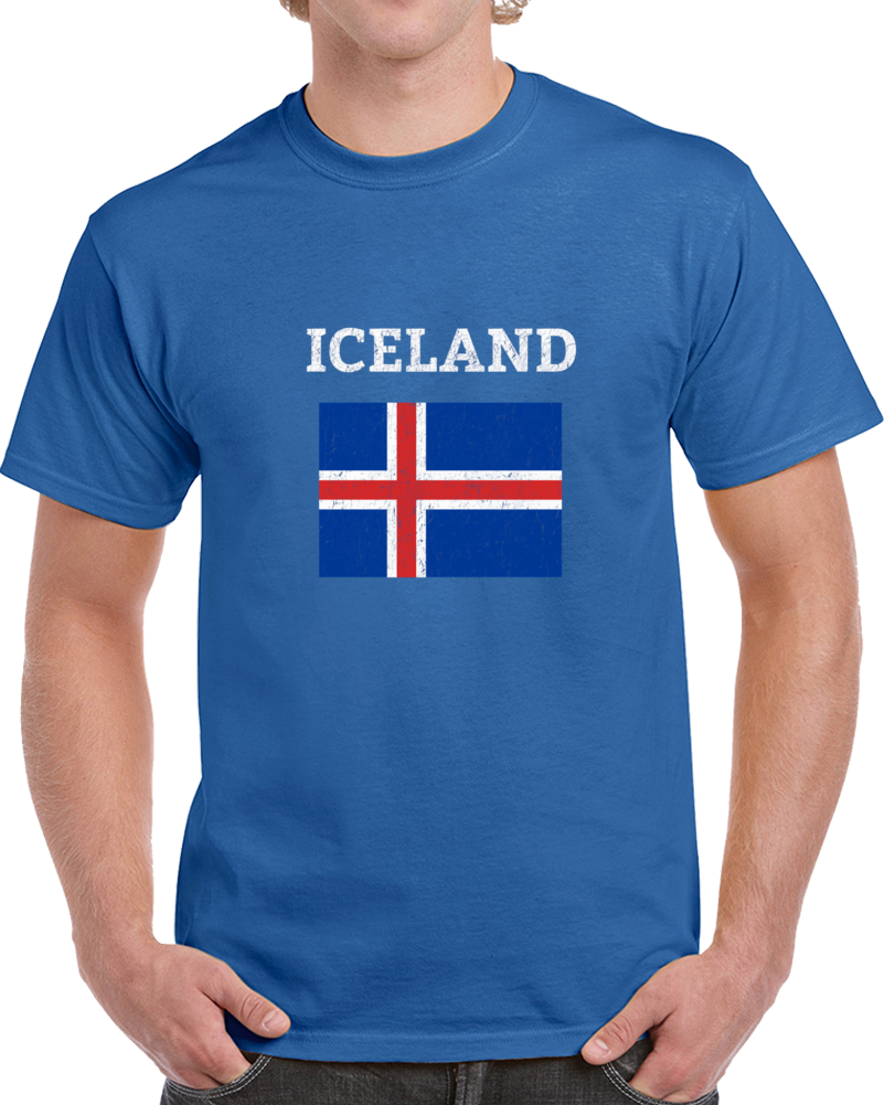 Iceland Retro Vintage Soccer Fan Supporter Flag Distressed T Shirt
