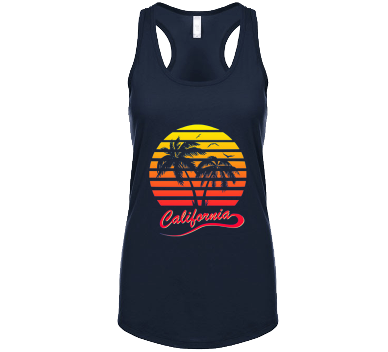 California Retro 80's Vintage Womens Ladies Racerback Tank Top