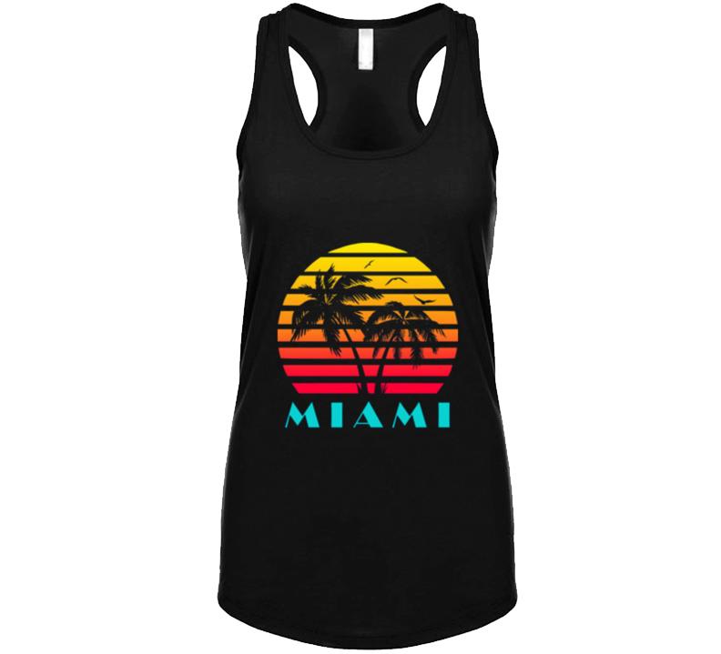 Miami Retro 80's Vintage Classic Souvenir Florida Ladies Racerback T Shirt