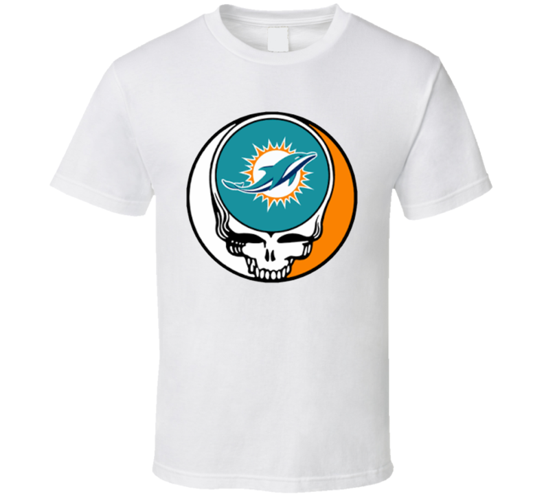 Miami Dolphins Steal Your Face Football Fan Supporter Grateful Dead T Shirt