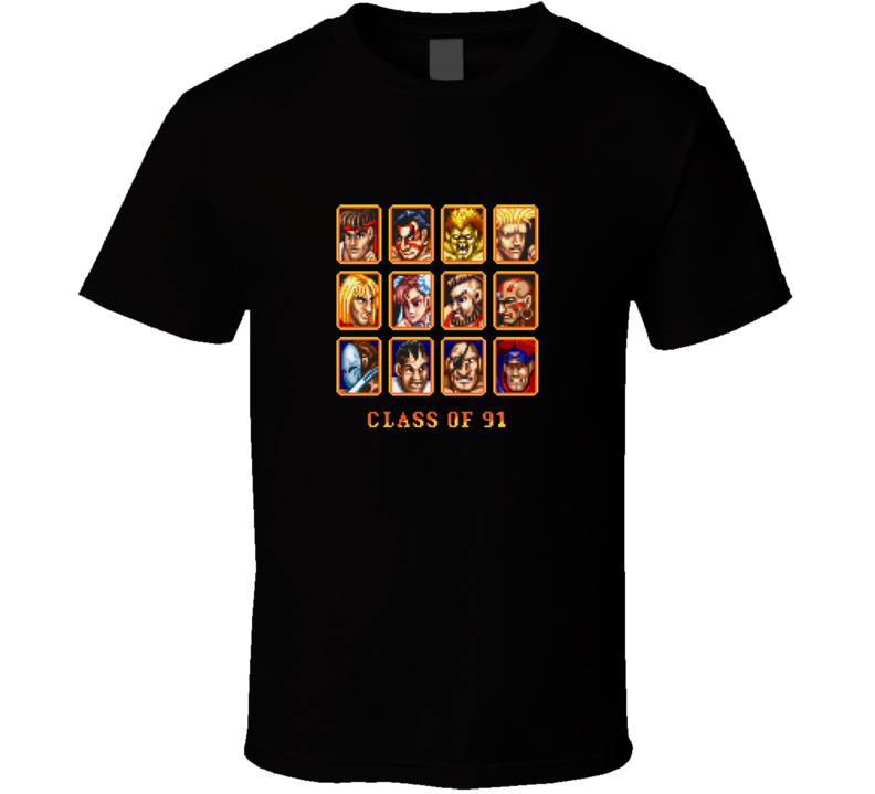 Streetfighter Classic Video Game 1-bit Characters T Shirt