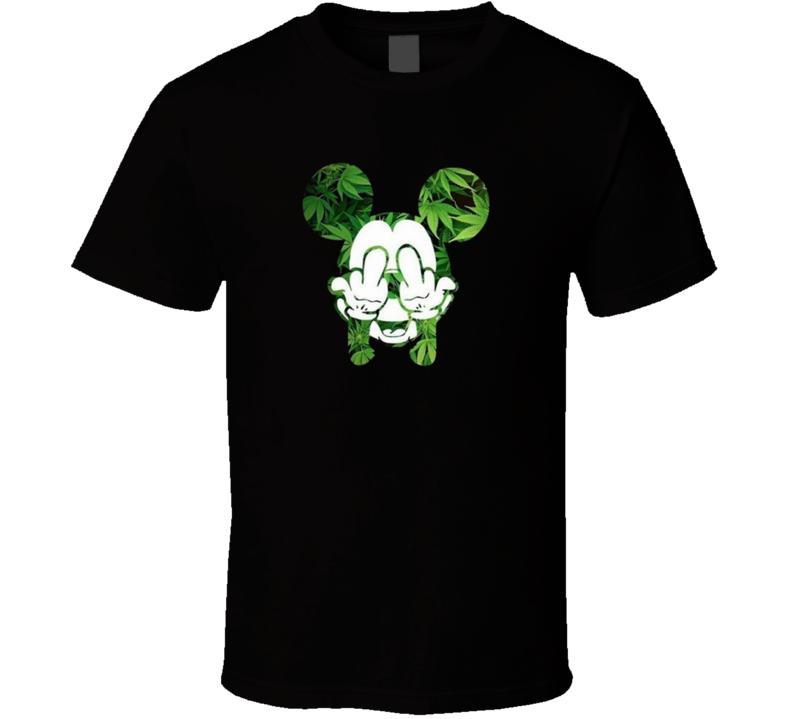 Mickey Marijuana Middle Fingers Up Toker Funny T Shirt