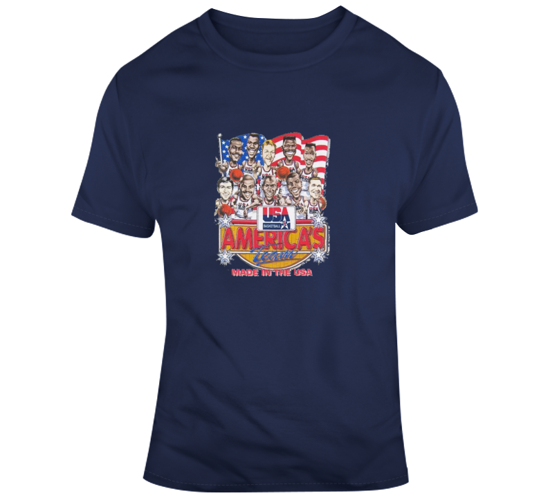 Usa 1992 Dream Team Retro Basketball Caricature T Shirt