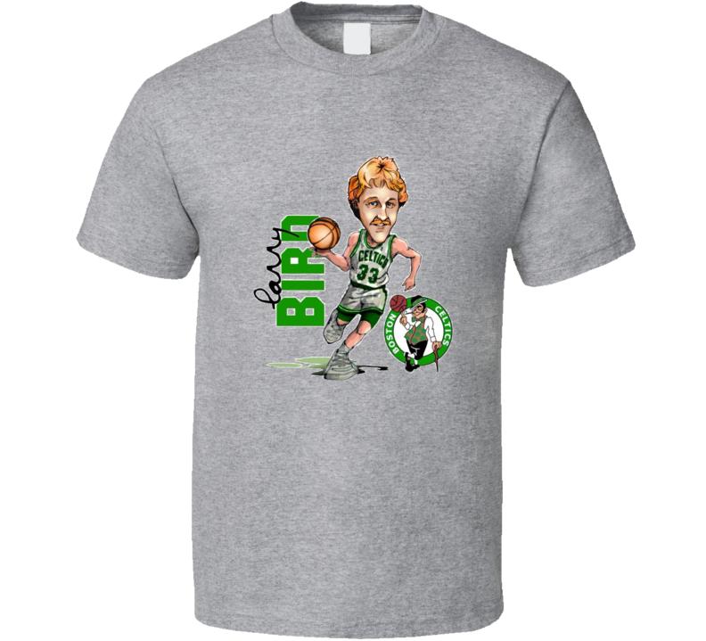 Larry Bird Retro Caricature Boston Basketbal T Shirt