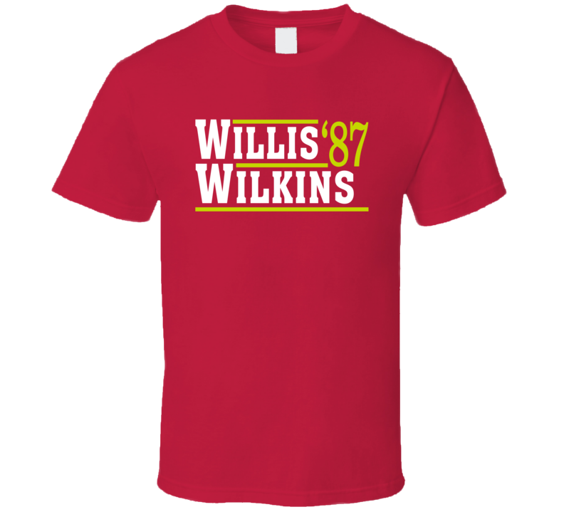 Dominique Wilkins Kevin Willis Atlanta 1987 Campaign Basketball T Shirt