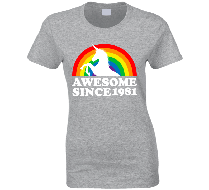 Awesome Since 1981 Birthday Unicorn Rainbow Gift Idea Retro Vintage Ladies T Shirt