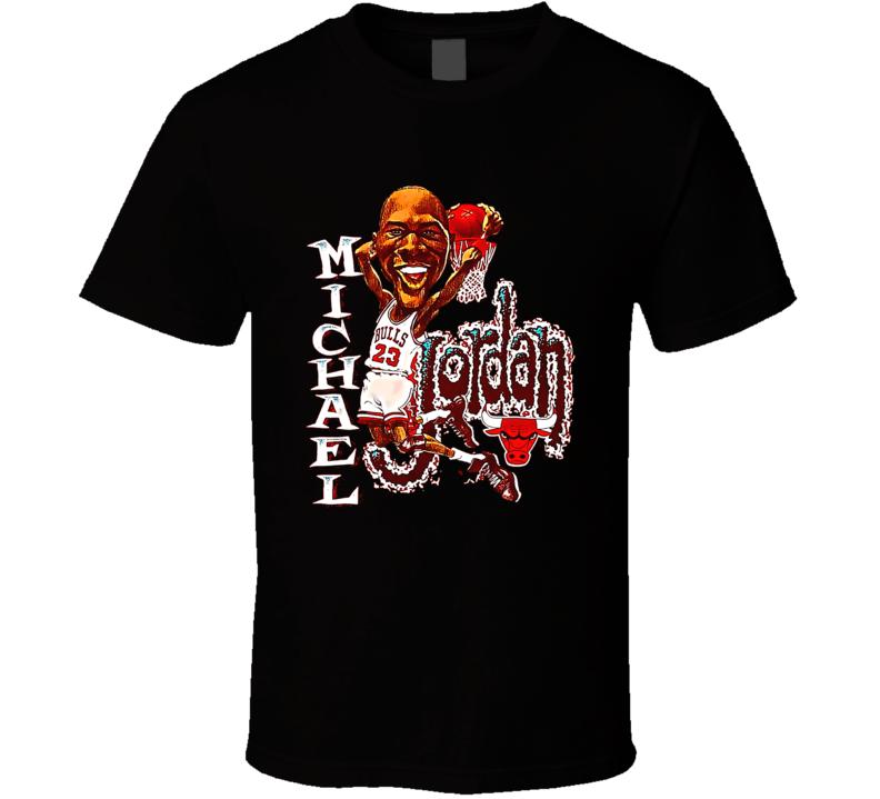 Michael Jordan Chicago Retro Vintage Caricature Basketball T Shirt