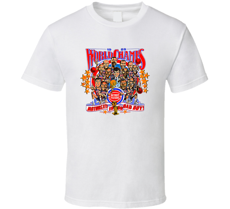 1989 Detroit Champs Bad Boys Retro Basketball Caricature T Shirt