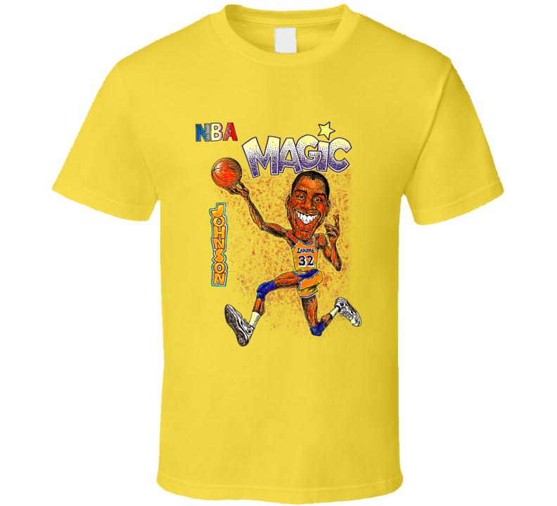 Magic Johnson Los Angeles Caricature Retro Basketball T Shirt