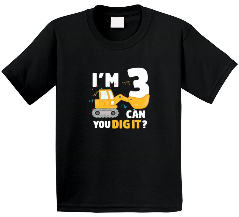 3 Year Old Construction Bulldozer Birthday T Shirt