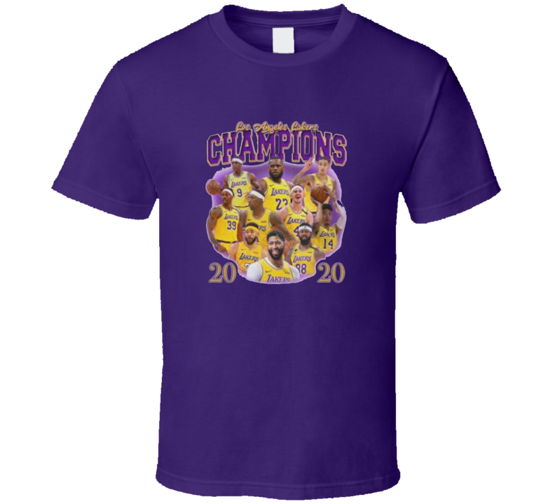 Los Angeles 2020 Champions Basketball Fan Purple T Shirt