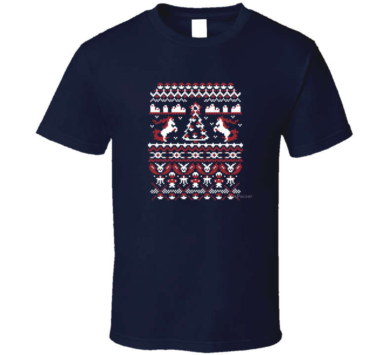 Ugly Christmas Sweater Poker on Navy Blue T Shirtt T Shirt