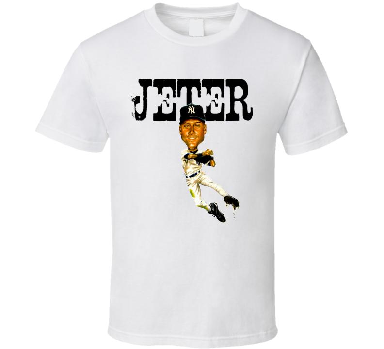 Derek Jeter New York Baseball Caricature Vintage T Shirt