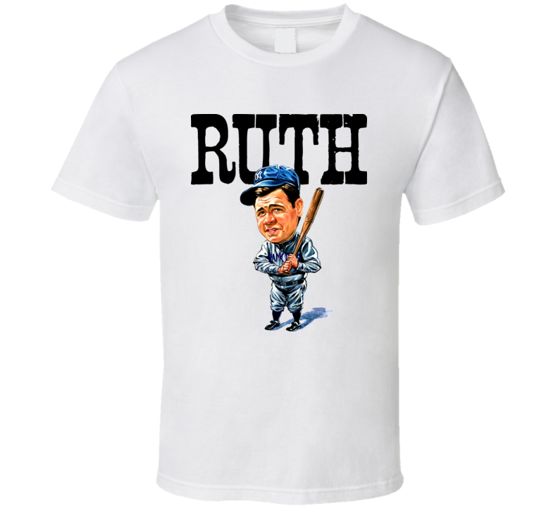 Babe Ruth New York Baseball Caricature T Shirt