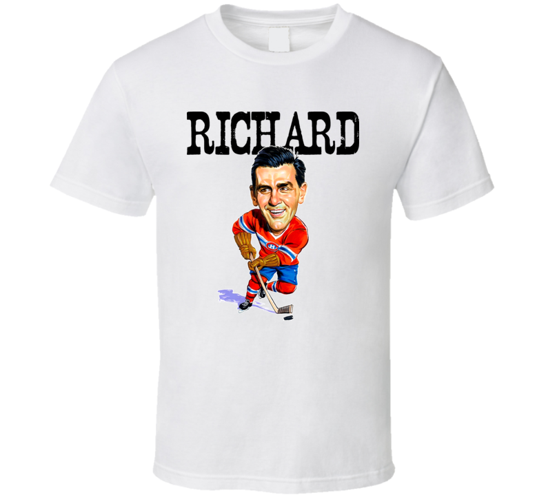 Maurice Richard Montreal Hockey Vintage Caricature T Shirt