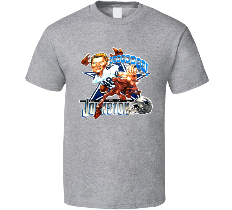 Daryl Moose Johnston Dallas Football Caricature Vintage T Shirt