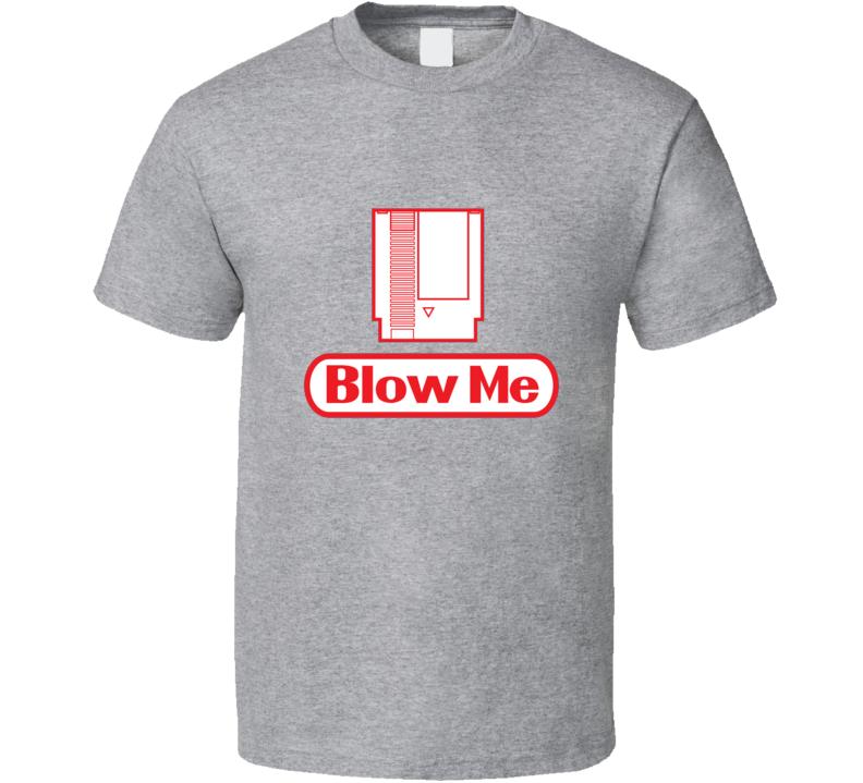 Nintendo Blow me Retro Video Game Funny Vintage T Shirt Cotton